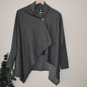 Bobeau One-Button Fleece Wrap Cardigan Grey Sz S